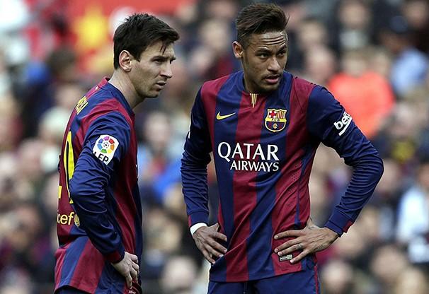 Os craques do Barcelona, Neymar e Messi, jogam pela Liga dos Campeões (Foto: EFE / reprodução globoesporte.com)