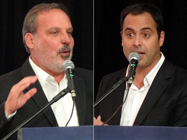 Armando Monteiro e Paulo Câmara em sabatina da Fiepe (Foto: Renan Holanda / G1)