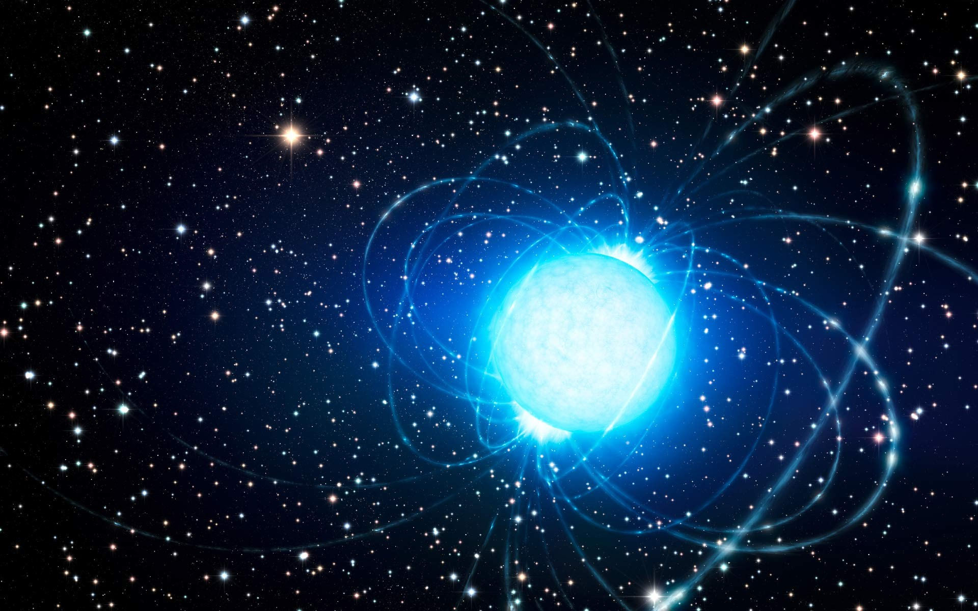 Concepção artística de uma estrela de nêutrons, possível fonte do FRB  (Foto: L. Calçada / ESO)