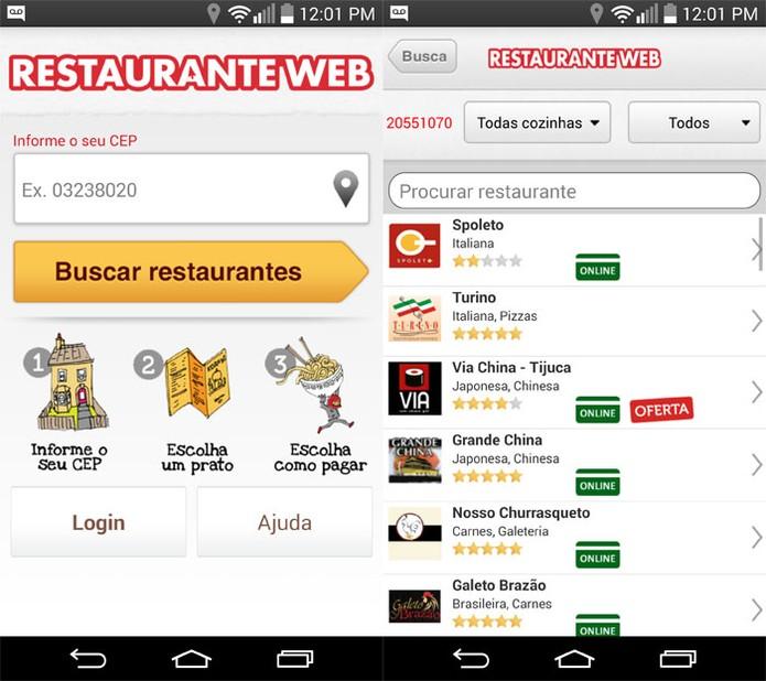 RestauranteWeb permite filtrar por CEP, pelo tipo de prato e pelos restaurantes (Foto: Reprodução)