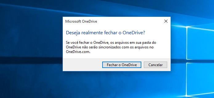 Confirmando o fechamento do aplicativo One Drive (Foto: Reprodução/Edivaldo Brito)