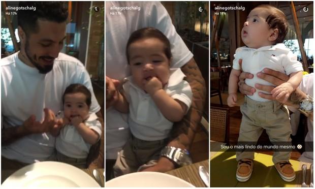 Aline Gotschalg mostra o marido, Fernando Medeiros, e o filho, Lucca, em vídeo no Snapchat (Foto: Reprodução/Snapchat)
