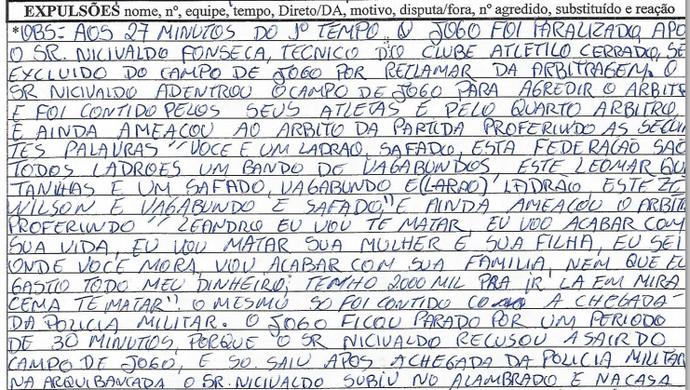 Árbitro relata ameaça de morte em súmula da Segundona (Foto: Reprodução)