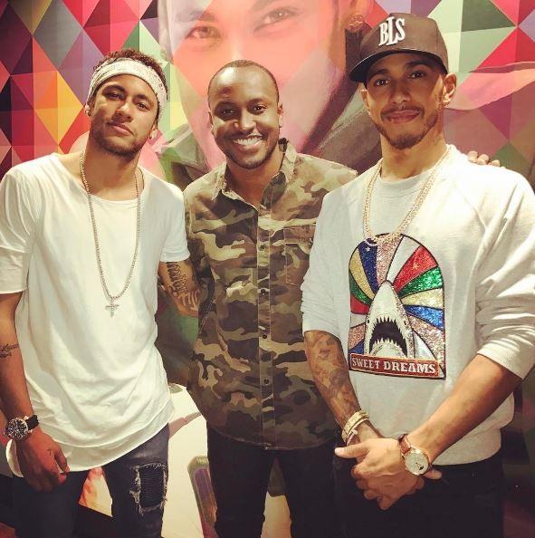 Neymar, Thaiguinho, Lewis Hamilton (Foto: Reprodução/ Instagram)