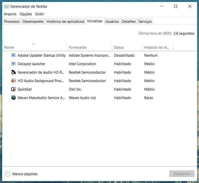 Lista de inicialização da imagem mostra um sistema bem equilibrado em que apenas aplicativos essenciais são carregados automaticamente pelo Windows (Foto: Reprodução/Filipe Garrett)