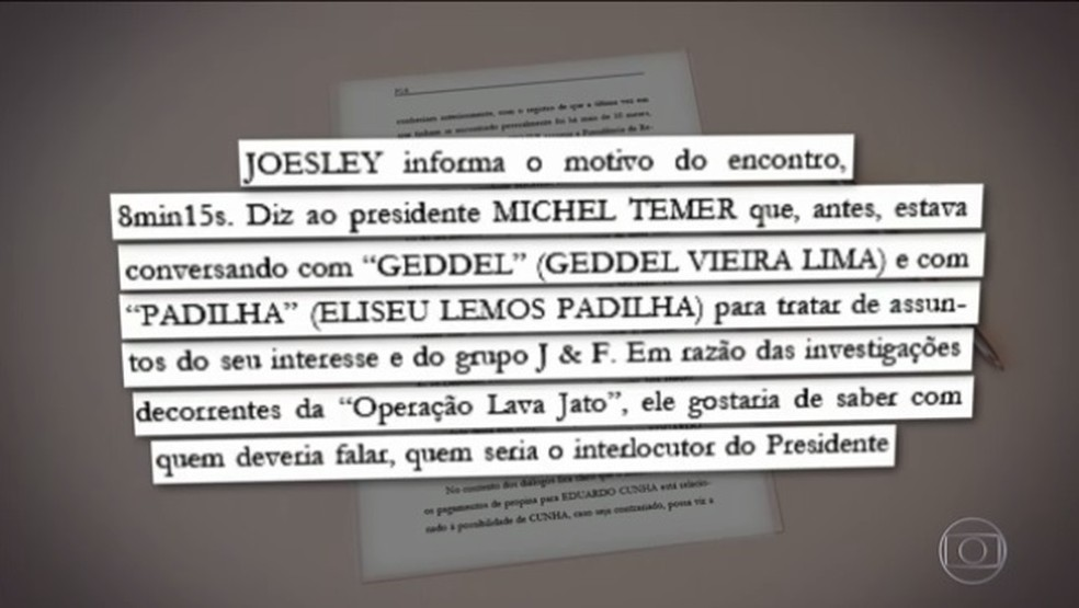 Trecho do relatório enviado pela PGR ao Supremo (Foto: Reprodução / TV Globo)