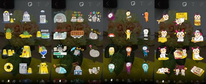 Novos stickers do Snapchat vão de gatinhos a pizza (Reprodução/Carol Danelli)