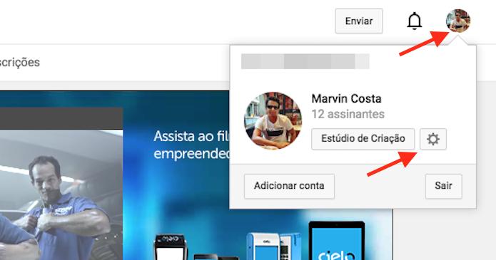 Acessando as opções de uma conta do YouTube (Foto: Reprodução/Marvin Costa)
