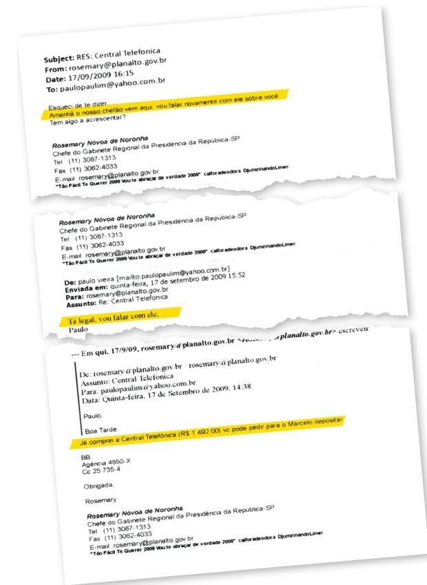 """""""CHEFÃO"""" Em e-mail, Rosemary avisa Paulo Vieira que falou com o """"chefão"""" sobre sua nomeação para a diretoria da Agência Nacional de Águas. O chefão era o presidente Luiz Inácio Lula da Silva (Foto: reprodução)"""