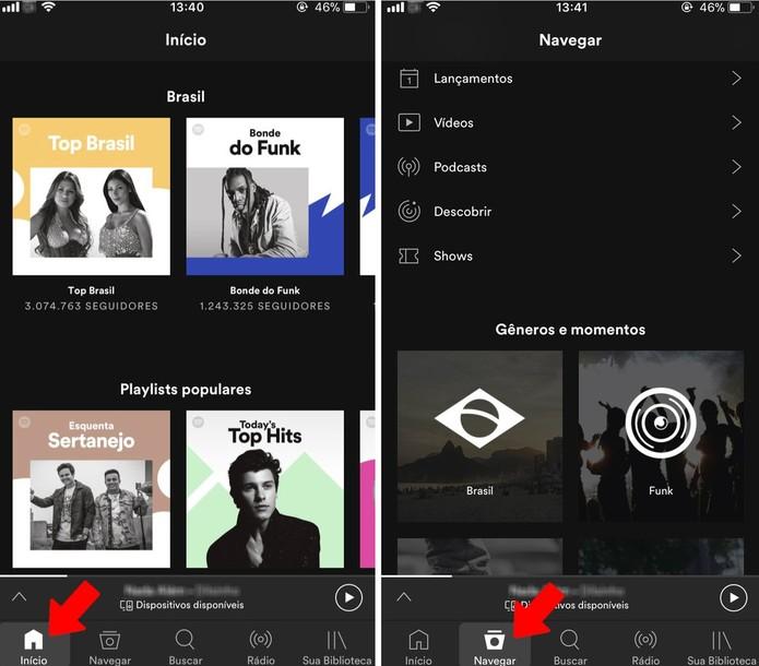 Spotify tem diversas seções para encontrar músicas (Foto: Reprodução/Rodrigo Fernandes)
