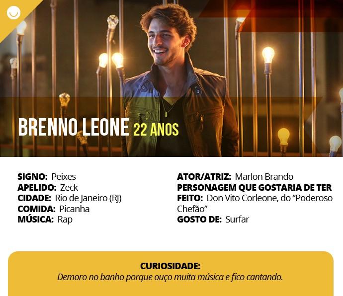 Card com informações curiosas de Brenno Leone (Foto: Gshow)