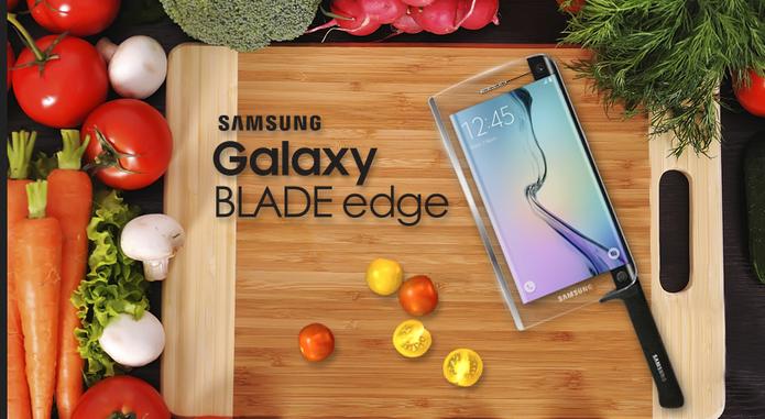 """A Samsung investiu no inusitado para o Primeiro de Abril e """"lançou"""" celular que, também, é faca (Foto: Reprodução/Samsung)"""