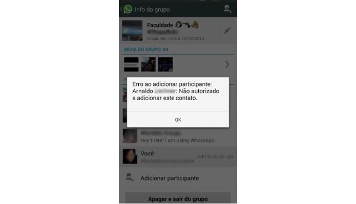 Mensagem de erro ao tentar adicionar um amigo no grupo do WhatsApp (Foto: Reprodução/Lívia Dâmaso)