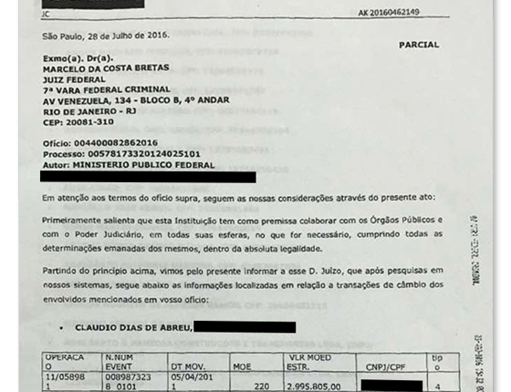 Santander informou movimentação de U$ 6 milhões de Cláudio Abreu a juiz federal (Foto: Reprodução )