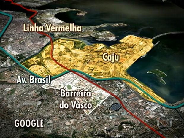 Mapa ocupação Caju Barreira do Vasco (Foto: Reprodução / TV Globo)