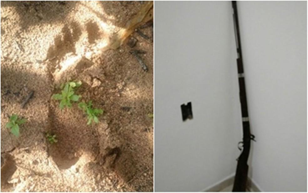 Pegadas e arma encontrada na área do crime levaram polícia a um dos suspeitos. (Foto: Divulgação / PM)