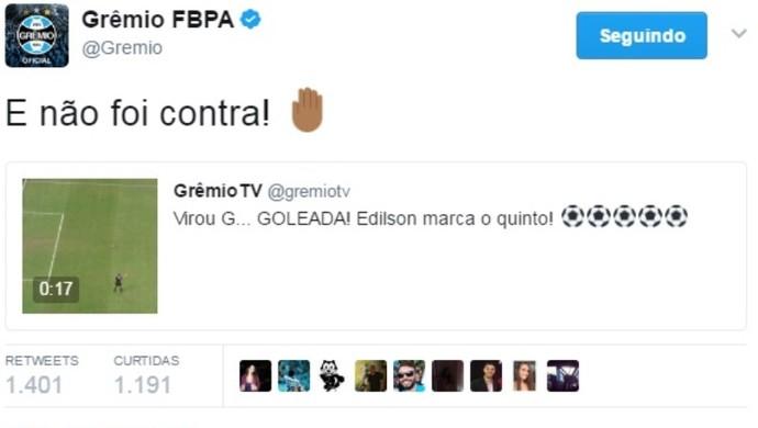 Twitter do Grêmio brinca com 5 a 0 no VEC (Foto: Reprodução / Twitter )