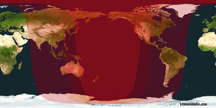 área de visibilidade do eclipse lunar de 8/10 (Foto: Reprodução)