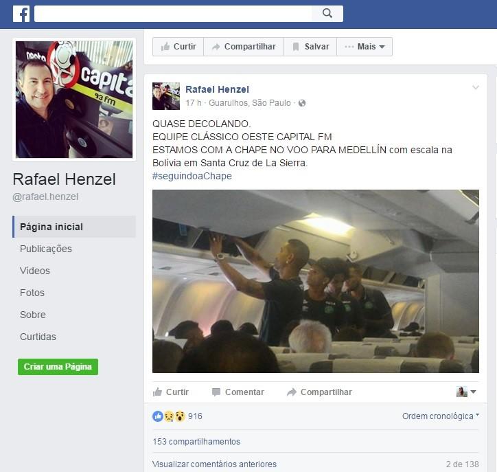 Jornalista que sobreviveu tirou foto de jogadores da Chapecoense dentro de avião em Guarulhos (Foto: Reprodução/Facebook)
