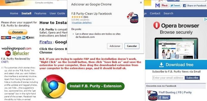 Página oficial do F.B. Purity e janela de confirmação para adicionar o plugin ao Chrome (Foto: Reprodução/Raquel Freire)