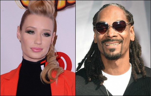 """IGGY AZALEA versus SNOOP DOGG — Uma verdadeira batalha de rappers! Porém muito infeliz. Por meio de redes sociais, Snoop Dogg chamou a colega australiana de """"p***"""" e a comparou as personagens principais da comédia 'As Branquelas' (2004). Depois de um mês trocando farpas via web, os dois fizeram as pazes, a partir de um pedido público de desculpas por parte do rapper. Iggy aceitou as desculpas e, de quebra, foi a uma festa à fantasia vestida como uma das protagonistas do tal filme. (Foto: Getty Images)"""