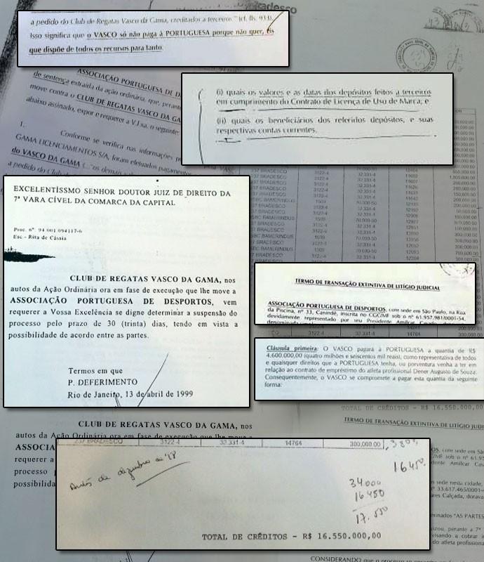 Montagem Documentos Dener cláusulas e acordos (Foto: Editoria de Arte)