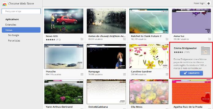 Galeria de temas do Google Chrome (Foto: Reprodução/Lívia Dâmaso)