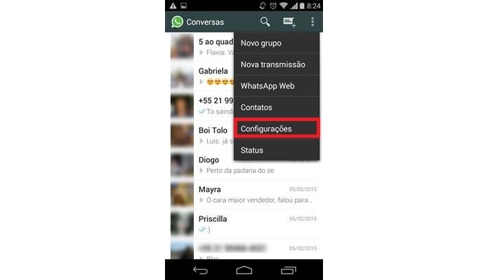 Caminho para acessar configurações do WhatsApp (Foto: Reprodução/ Raquel Freire)