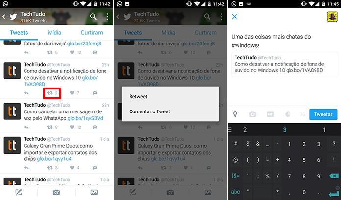 Retweet permite que o usuário compartilhe uma postagem no seu perfil com ou sem comentários (Foto: Reprodução/Elson de Souza)