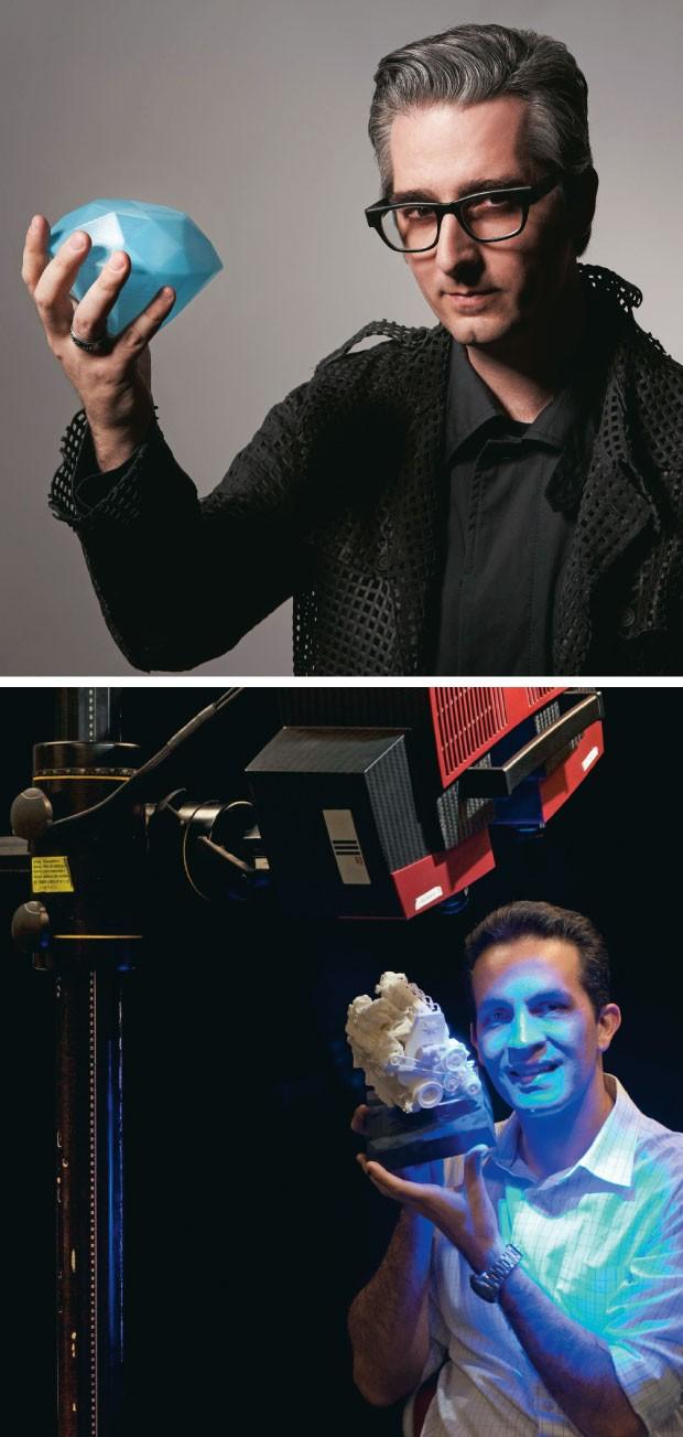 PIONEIROS O americano Bre Pettis, da MakerBot (acima), e o brasileiro Luiz Fernando Dompieri, da Robotec. Eles estão popularizando as impressoras 3D  (Foto: David Needleman/Corbis Outline e Rogério Cassimiro/ÉPOCA)