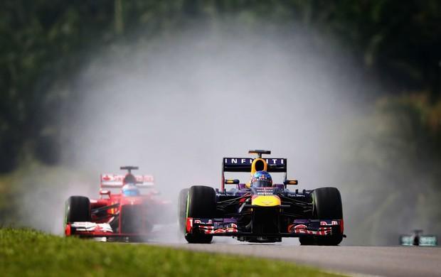 Sebastian Vettel (RBR) levanta água para cima do rival Fernando Alonso (Ferrari), no treino classificatório para o GP da Malásia (Foto: Getty Images)