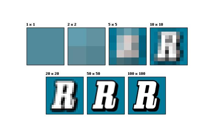 Esquema mostra como acréscimo de resolução torna a imagem mais definida (Foto: Wikipedia)