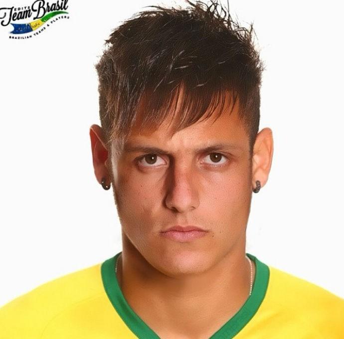 David luiz com o cabelo de Neymar