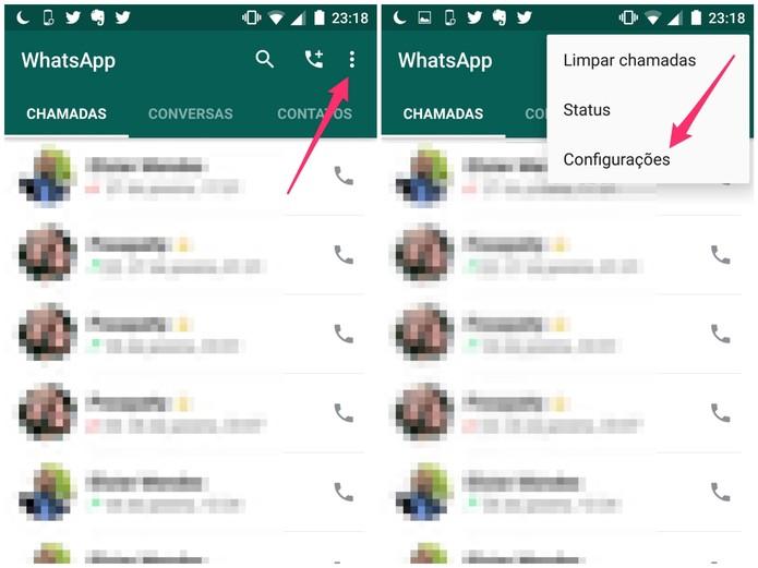 Abra as configurações do WhatsApp (Foto: Reprodução/Lucas Mendes)