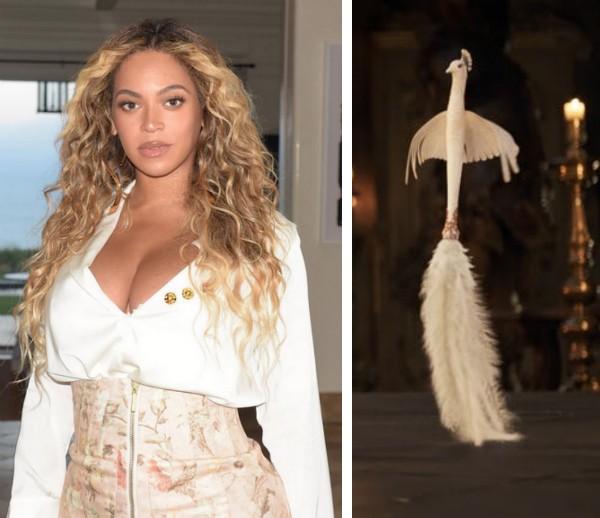 A cantora Beyoncé e a personagem Plumette que ela supostamente dublaria em A Bela e a Fera (2017) (Foto: Instagram/Reprodução)