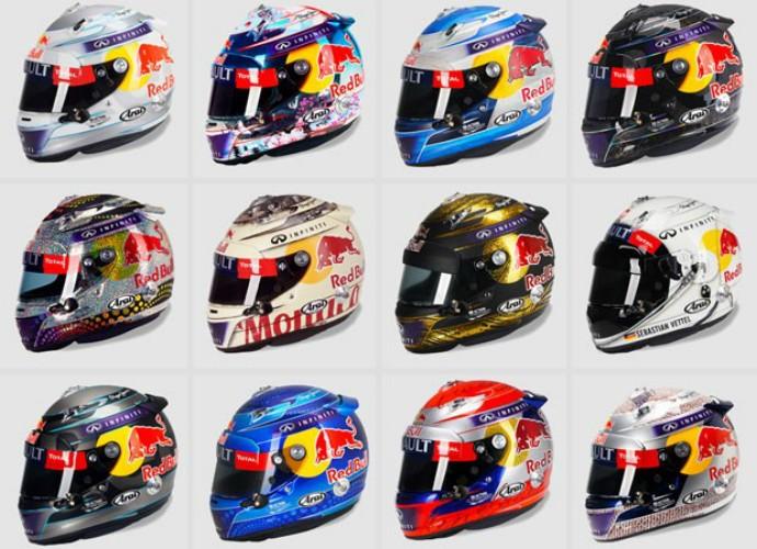 Sebastian Vettel já utilizou inúmeros desenhos em seus capacetes da Fórmula 1 (Foto: Montagem Editoria de arte)
