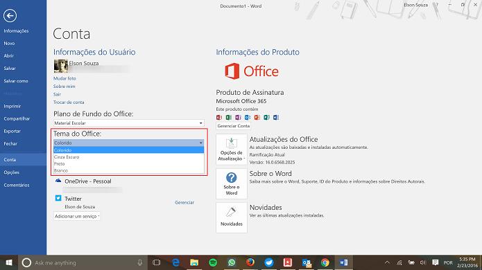 Office possui quatro temas diferentes para seus aplicativos no Windows (Foto: Reprodução/Elson de Souza)