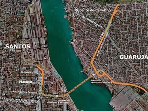 Projeto de túnel imerso entre Santos e Guarujá, apresentado nesta quinta-feira (18) (Foto: Divulgação/Governo do Estado de São Paulo)
