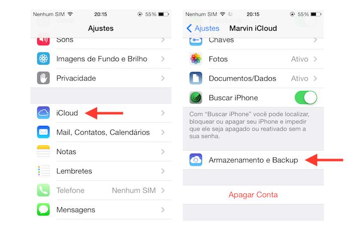 Acessando as opções de armazenamento do iCloud no iOS (Foto: Reprodução/Marvin Costa)