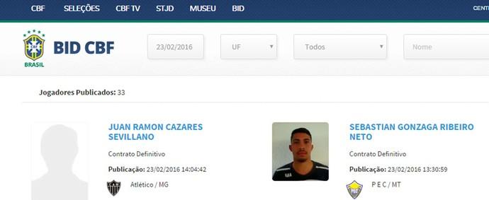 Nome do equatoriano Cazares aparece no BID: liberado para jogar pelo Atlético-MG (Foto: Reprodução / CBF)