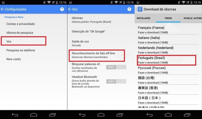Ative o reconhecimento de voz offline no Google Now para Android (Foto: Reprodução/Juliana Pixinine)