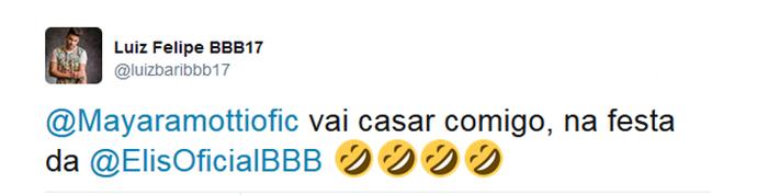 Luiz Felipe entra na brincadeira no Twitter de Mayara (Foto: Twitter)