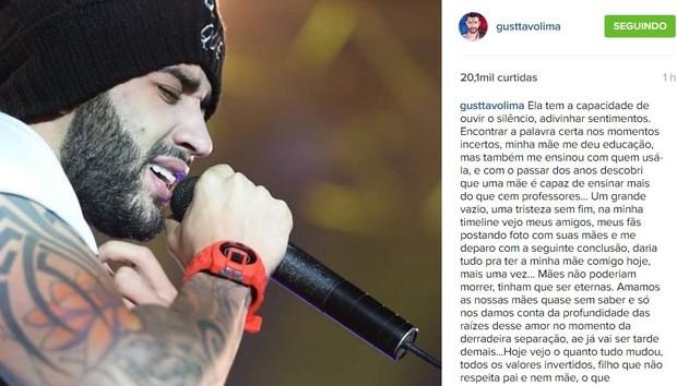 Gusttavo Lima relembra mãe em post (Foto: Instagram / Reprodução)