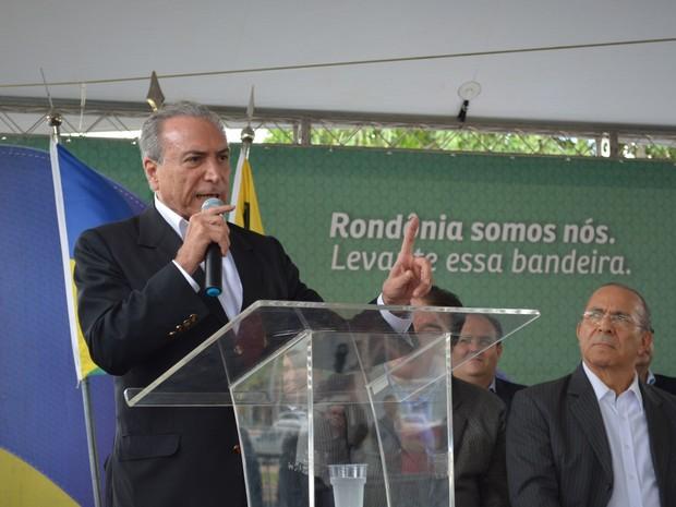 Vice-presidente Michel Temer durante visita em Porto Velho (Foto: Mary Porfiro/ G1)