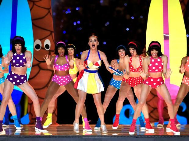 Katy Perry canta no Super Bowl em Glendale, no Arizona, nos Estados Unidos (Foto: Rob Carr/ AFP)