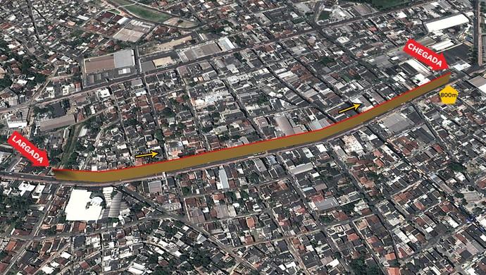 Percurso Garotada: Corrida de 800m (Foto: Reprodução/Site Oficial da Dez Milhas Garoto)