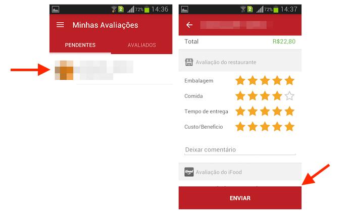 Avaliando um restaurante no iFood para Android (Foto: Reprodução/Marvin Costa)