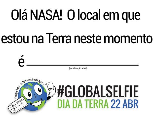 Modelo de placa disponibilizado no site da Nasa para ser utilizado em selfies feitas por pessoas que falam português (Foto: Divulgação/Nasa)