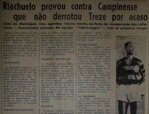 Campinense vence o Riachuelo-RN, na inauguração dos refletores do Plínio Lemos (Foto: acervo do Diário da Borborema)