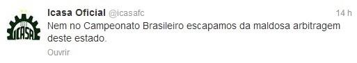 Icasa protesta contra a arbitragem de Wladyerisson Oliveira (Foto: Reprodução Twitter/ Icasa Oficial)